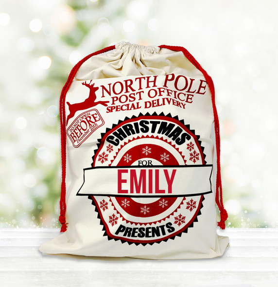 Christmas presents special delivery personalized santa sack
