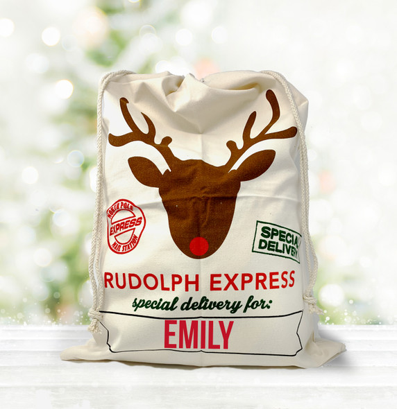 Rudolph express special delivery personalized santa sack