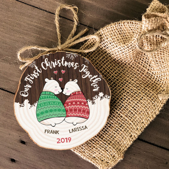 First Christmas together couples snow bear wood slice ornament