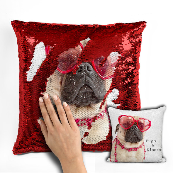 Pug dog pugs & kisses decorative sequin pillowcase pillow