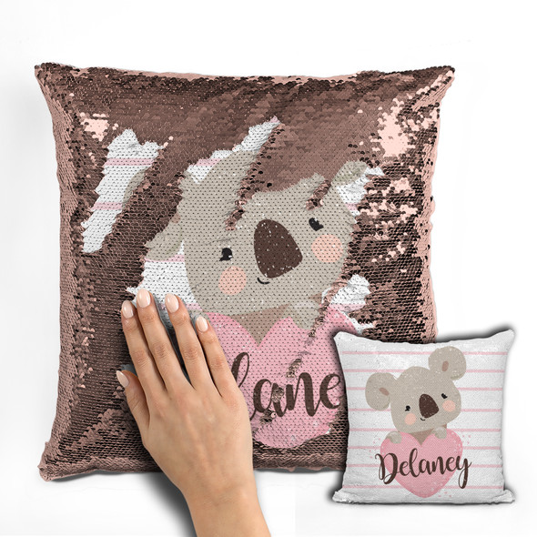 Koala bear girl decorative sequin pillowcase pillow