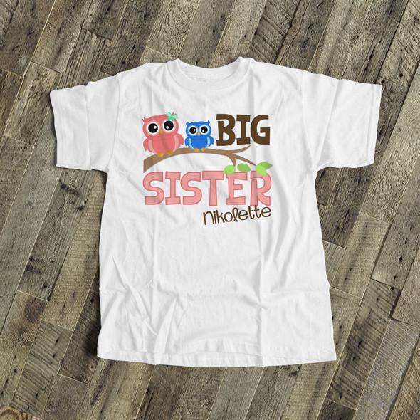 Big sister shirt funky owl personalized Tshirt