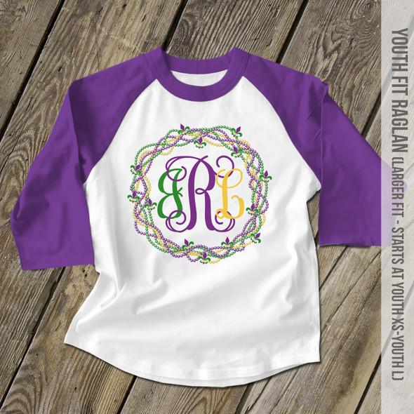 Mardi Gras monogram bead wreath kids raglan shirt