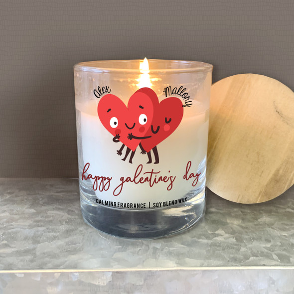 Happy Galentine's Day heart hug girlfriends personalized soy blend wax candle