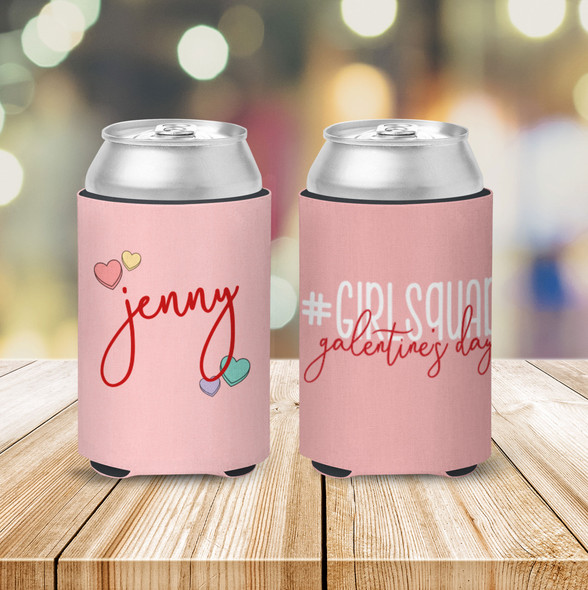 Galentine's Day #girlsquad personalized can coolie