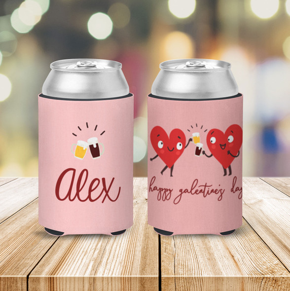 Happy Galentine's Day heart girlfriends personalized can coolie