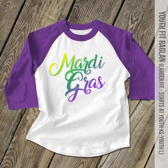 Mardi Gras script kids youth raglan shirt
