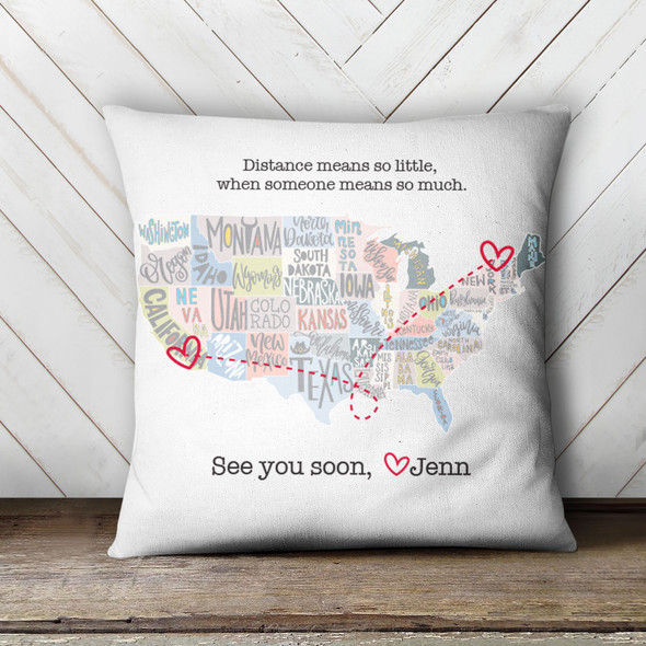 See you soon USA map personalized throw pillowcase pillow