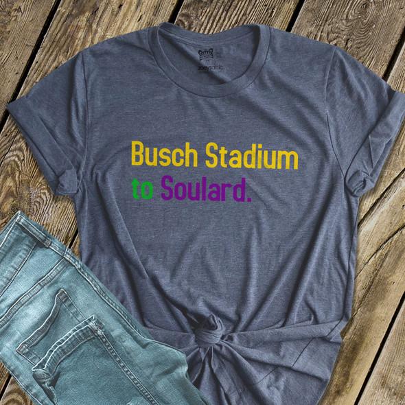 Mardi Gras St. Louis Busch Stadium to Soulard DARK Tshirt