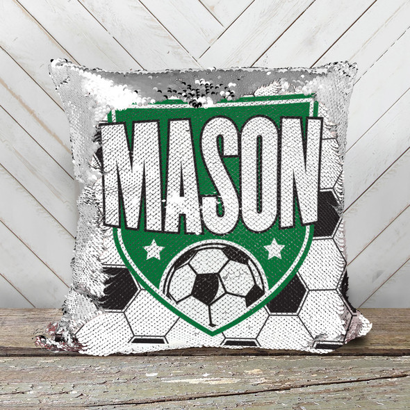 Soccer ball personalized decorative sequin pillowcase pillow