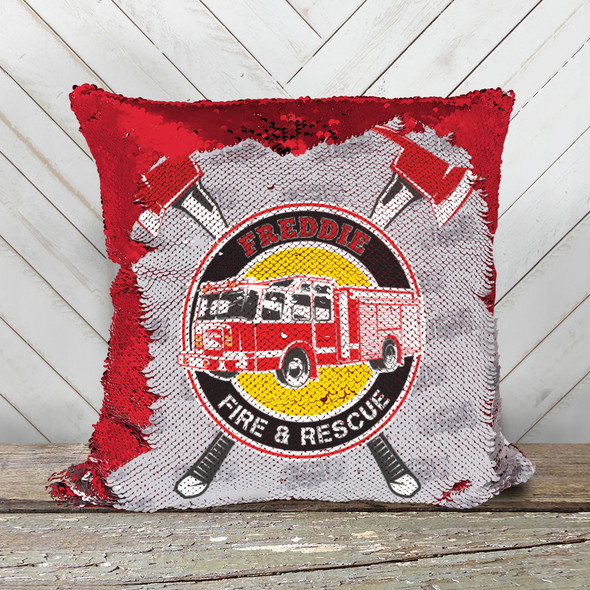 Fire truck personalized decorative sequin pillowcase pillow