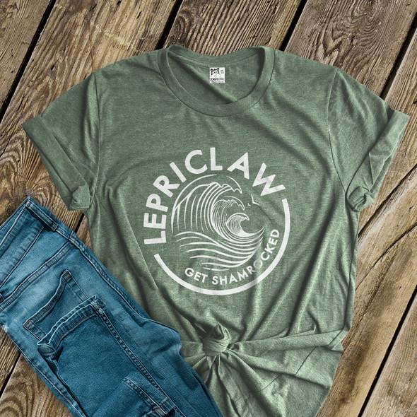 St. Patrick's Day funny lepriclaw get shamrocked DARK Tshirt
