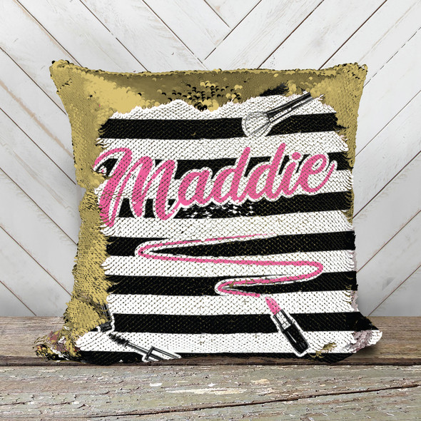 Girls makeup cosmetics personalized decorative sequin pillowcase pillow
