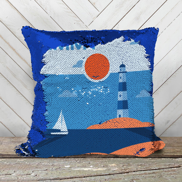 Lighthouse with sailboat personalized decorative sequin pillowcase pillow