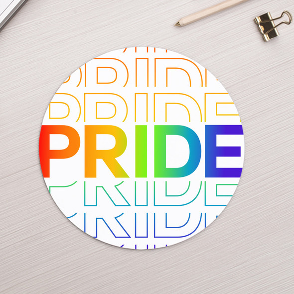 Pride repeating word rainbow gay bisexual or transgender round / circular mousepad