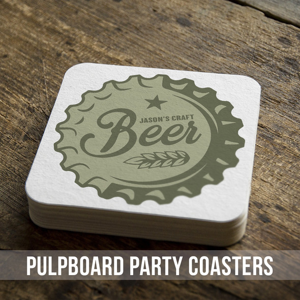 Craft beer bottle cap personalized square pulpboard bar coasters