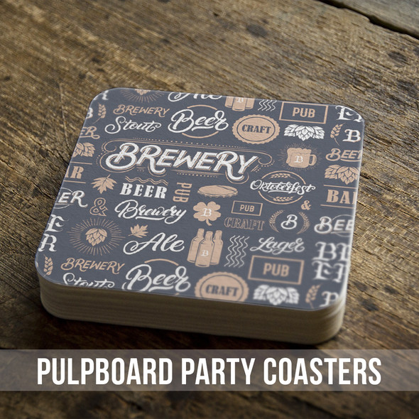 Pub brewery beer custom square pulpboard bar coasters