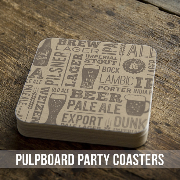 Brew beer custom square pulpboard bar coasters