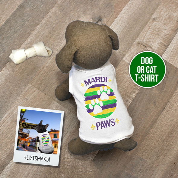 Mardi Gras mardi paws pet dog or cat Tshirt