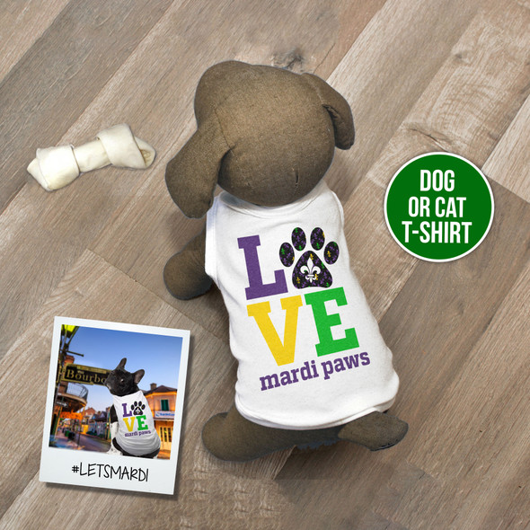 Mardi Gras love mardi paws pet dog or cat Tshirt
