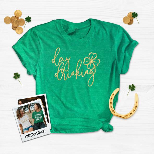 St. Patricks Day glitter day drinking Tshirt