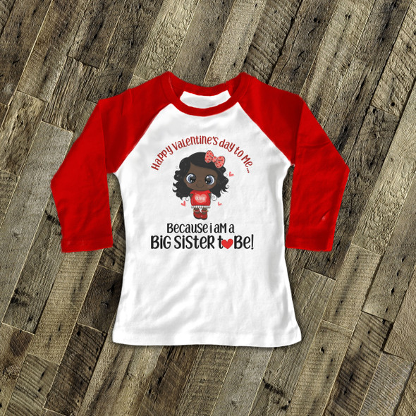 Big sister to be Valentine's Day red dress pregnancy announcement raglan Tshirt