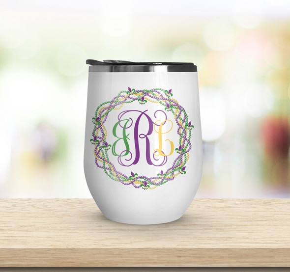 Mardi Gras monogram bead wreath stainless steel wine tumbler