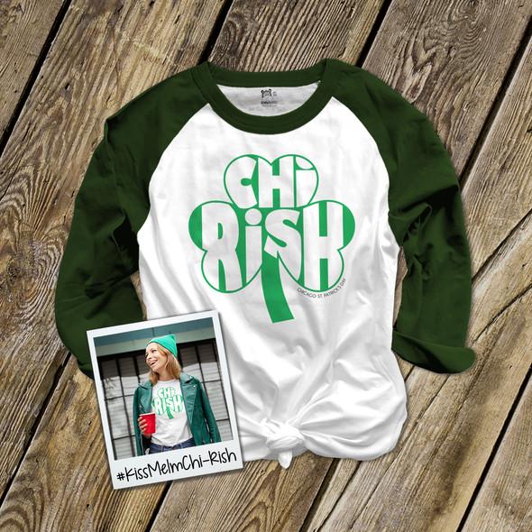 St. Patrick's Day Chicago chi-rish shamrock adult unisex raglan shirt