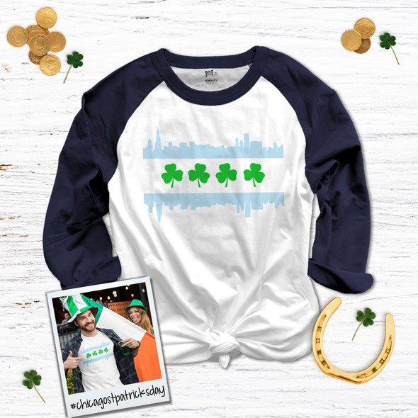 St. Patrick's Day Chicago skyline shamrock adult unisex raglan shirt