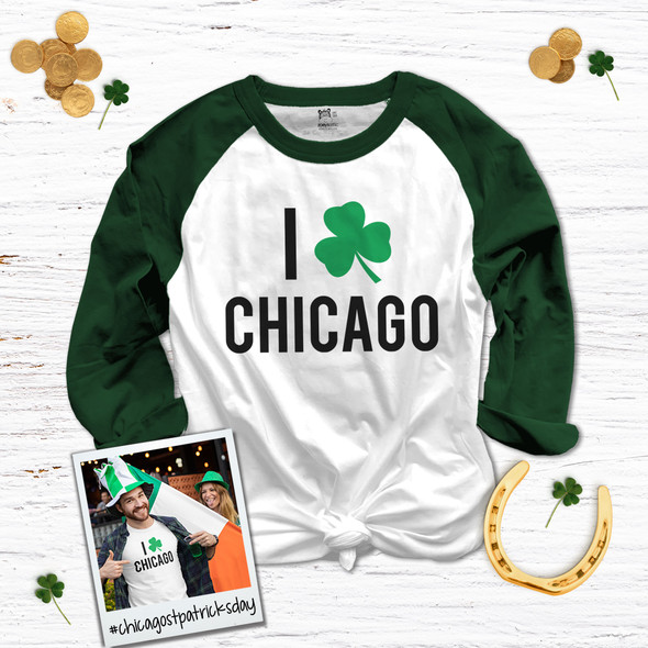 St. Patrick's Day I shamrock Chicago adult unisex raglan shirt