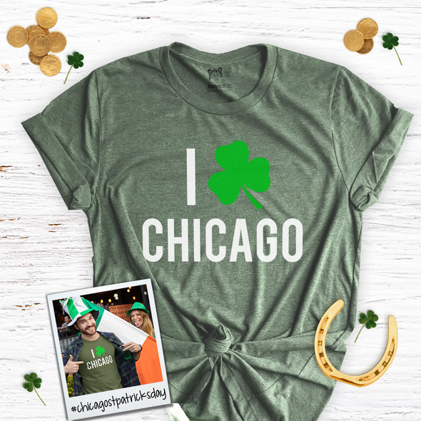 St. Patrick's Day I shamrock Chicago adult unisex DARK Tshirt
