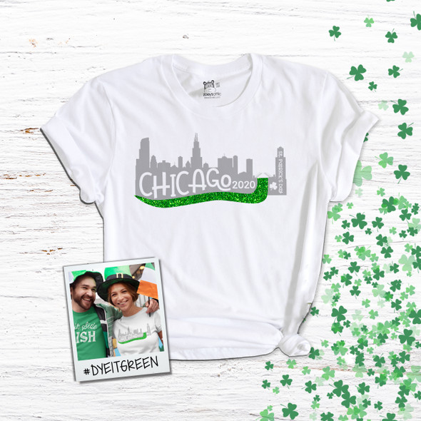 St. Patrick's Day Chicago River green glitter Tshirt