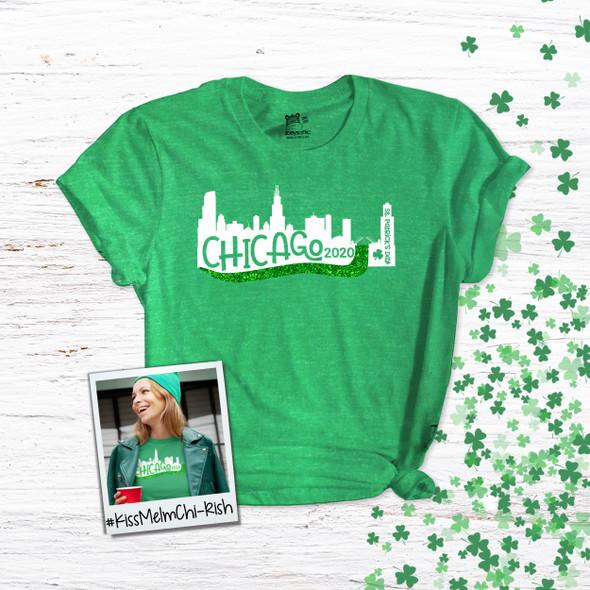 St. Patrick's Day Chicago River green glitter DARK Tshirt