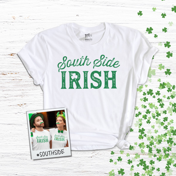 St. Patrick's Day Chicago south side irish shamrock glitter option adult unisex Tshirt