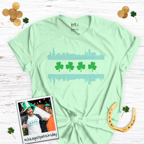 St. Patrick's Day Chicago skyline shamrock adult unisex Tshirt