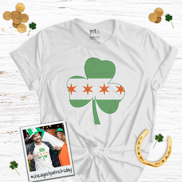 Irish Chicago flag shamrock adult unisex Tshirt
