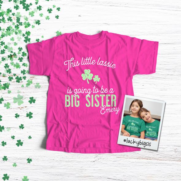 Big sister to be little lassie pregnancy announcement DARK Tshirt