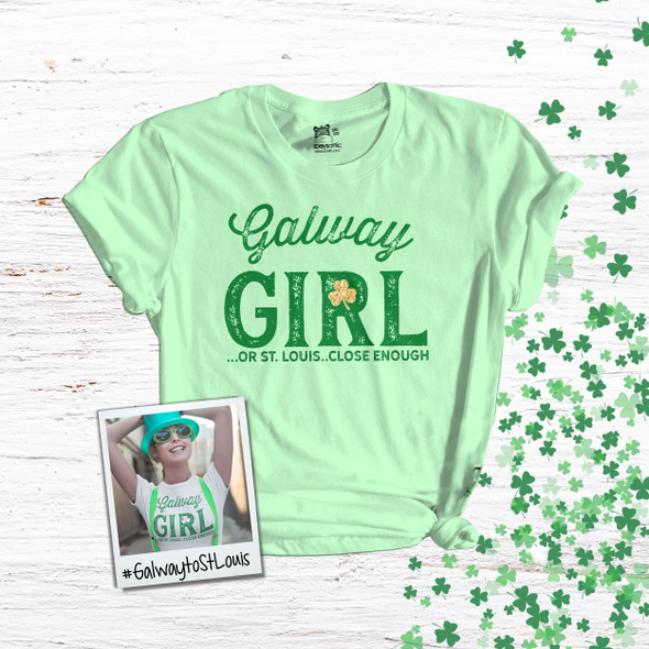 St. Patrick's Day Galway girl or St. Louis shamrock glitter option adult Tshirt