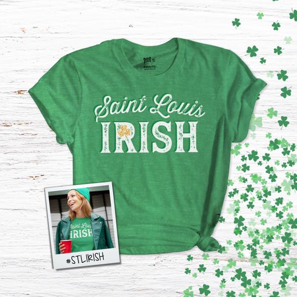 St. Patrick's Day Saint Louis Irish shamrock glitter option adult unisex DARK Tshirt