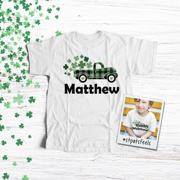 St. Patrick's Day shamrocks buffalo green plaid truck personalized Tshirt