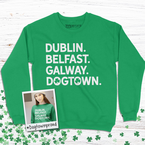 St. Patrick's Day dogtown or st. louis shamrock glitter option adult crew neck sweatshirt