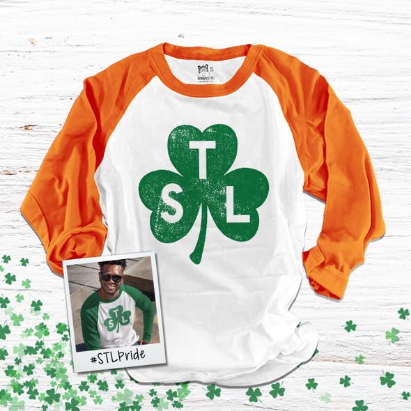 St. Patrick's Day STL shamrock saint louis adult unisex raglan shirt