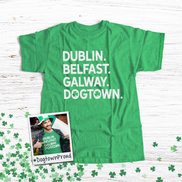 St. Patrick's Day dogtown or st. louis shamrock glitter option adult unisex DARK Tshirt