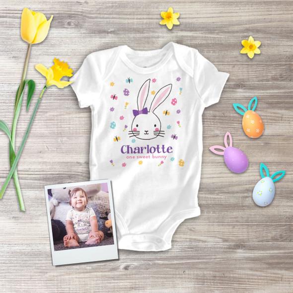 Easter one sweet bunny girl personalized bodysuit or Tshirt