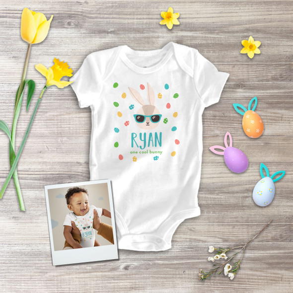 Easter one cool bunny boy personalized bodysuit or Tshirt