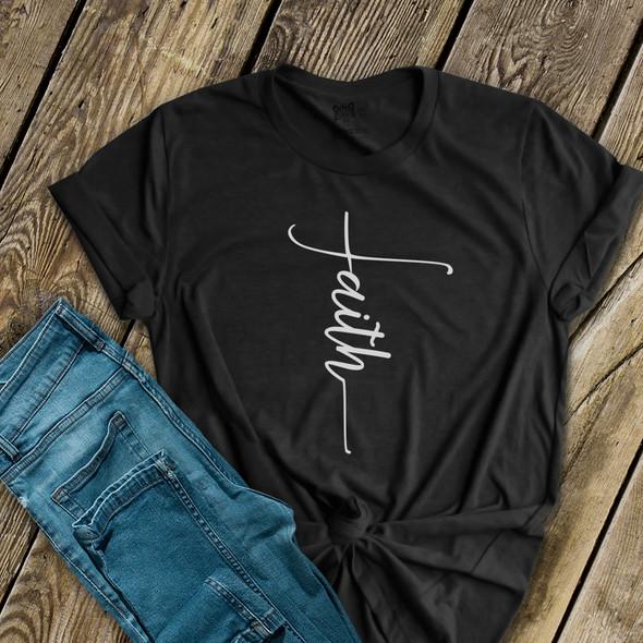 Faith cross unisex crew neck t-shirt or women's v-neck DARK shirt