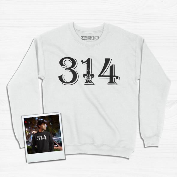 Personalized area code saint louis missouri fleur de lis adult crew neck sweatshirt
