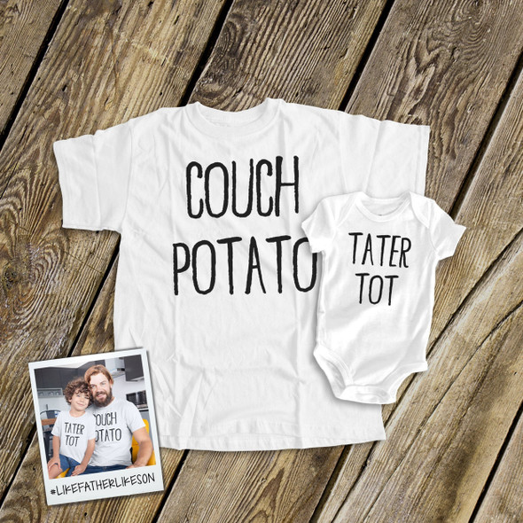 Couch potato tater tot matching shirt gift set