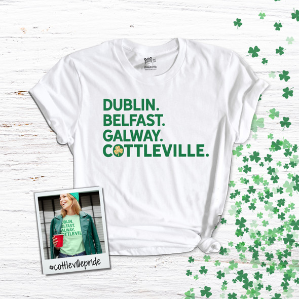 St. Patrick's Day Cottleville shamrock glitter option adult unisex Tshirt