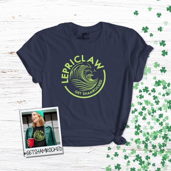 Lepriclaw get shamrocked funny St. Patrick's Day DARK Tshirt